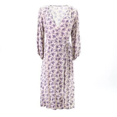 lavender pattern wrap dress purple